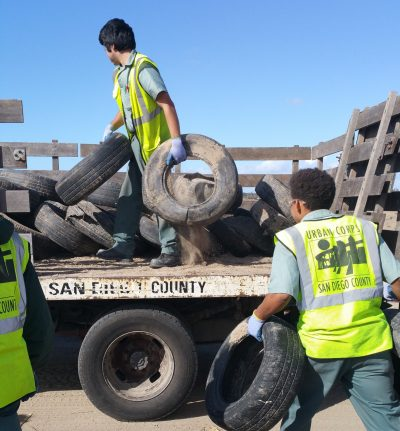 Urban Corps San Diego County Tire Recycling Team